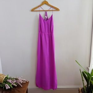 J. Crew Pink Chiffon Maxi Slip Dress High Slit 00